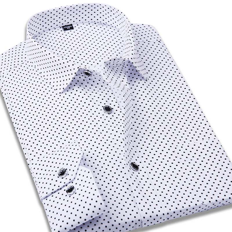 Fashlook White Dotted Cotton Polo Collar Slim Fit Casual Shirts For Men