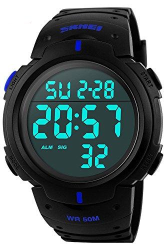 TRUE COLORS Black Round Dial PU Plastic Digital Analog Sport Watch For Men 6 MONTH WARRANTY