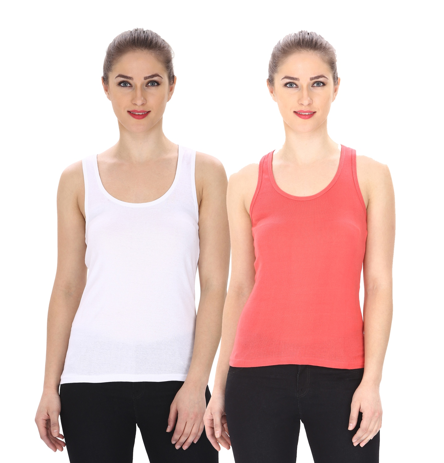 Friskers Multicolor Casual Cotton Plain Tank Tops  Pack of 2
