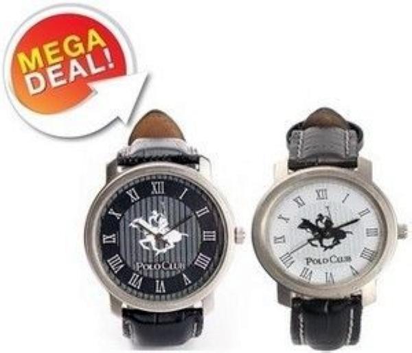 Polo Club Watch  Set Of 2  Black White Round Watch