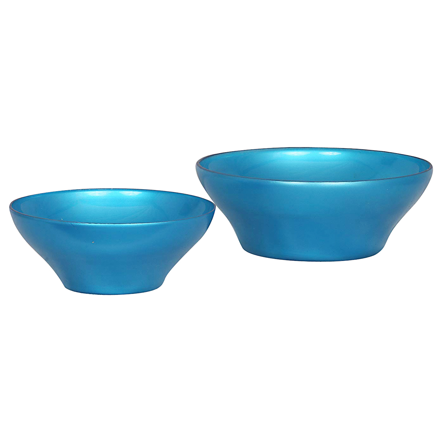 adaraforever Exulsive Metalic Sky Blue Colour Set of Two  2  Glass Bowls One Big One Small,