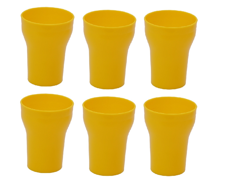 Unbreakable Multipurpose Fancy Glass Yellow 300 ml Pack of 6
