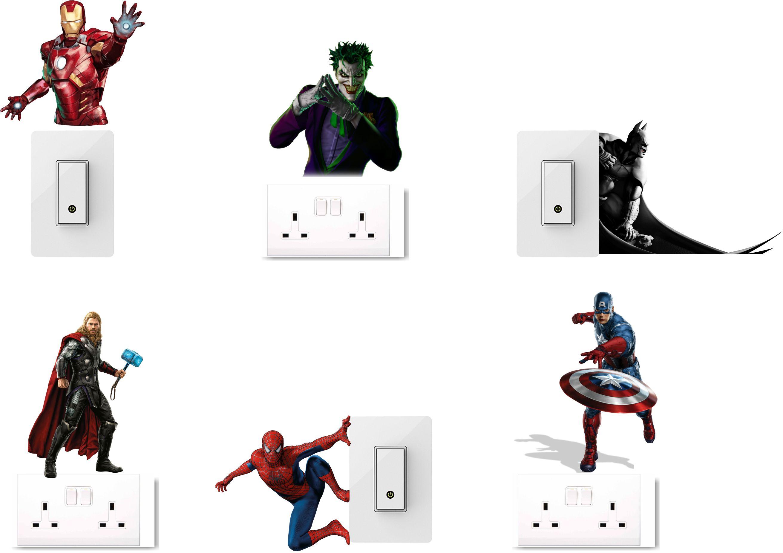 wall dreams Super heros and villans Vinyl Switch Board Sticker