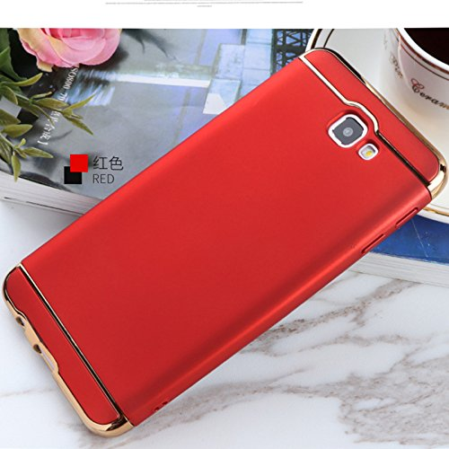 Trybros New Chrome 3IN1 Luxury Full body Protective Back cover for Samsung Galaxy J7 Prime / Samasung Galaxy On Nxt  RED