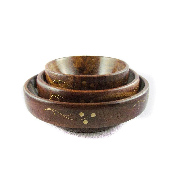Desi Karigar Fancy Wooden Brass Work Set Of 3 Serving Bowl