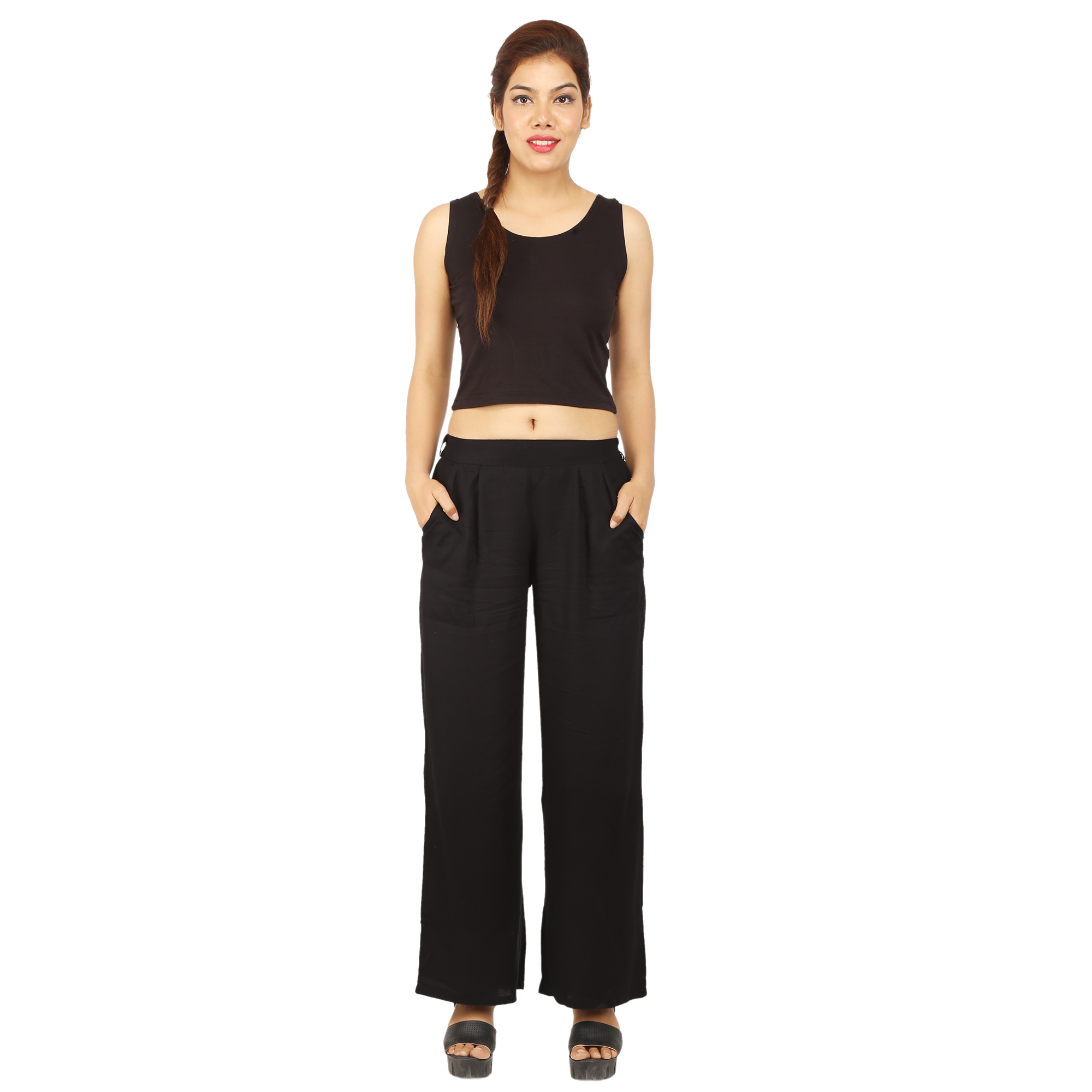 CHINMAYA Regular Fit Women Black Trousers