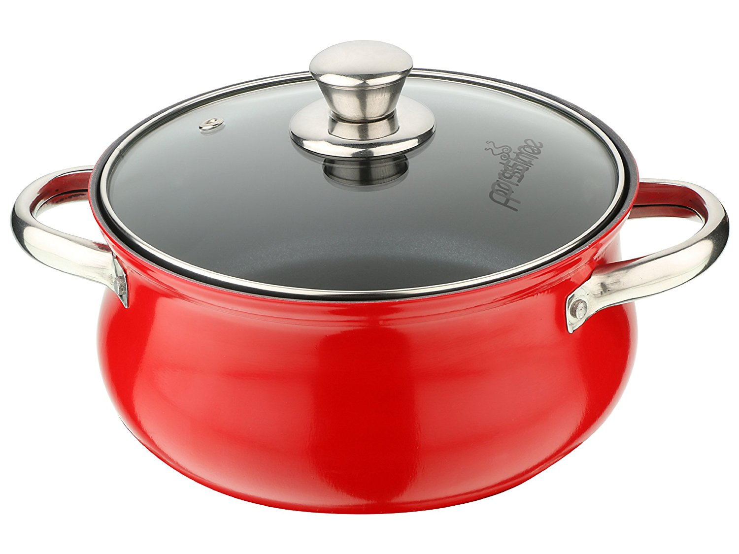 Pristine Aluminium Induction Base Non Stick Belly Casserole with Glass Lid/2.5ltrs
