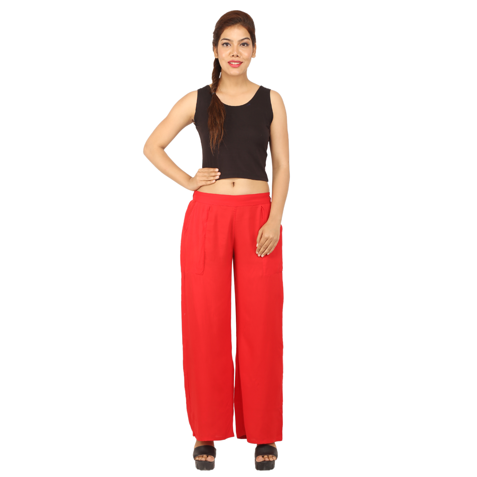 CHINMAYA Regular Fit Women's Red Trousers