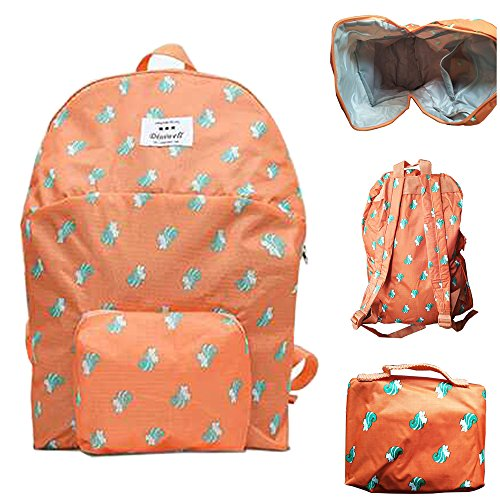 Mosh Orange Green Print Foldable Light Weight And Water Proof Washable Backpack For School Collage or Travel.