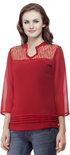 Wish Tree Casual 3/4th Sleeve Solid Women\'s Red Top