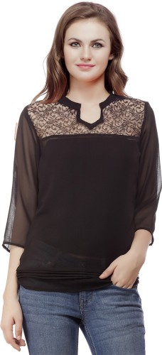 Wish Tree Casual 3/4th Sleeve Solid Women's Black Top