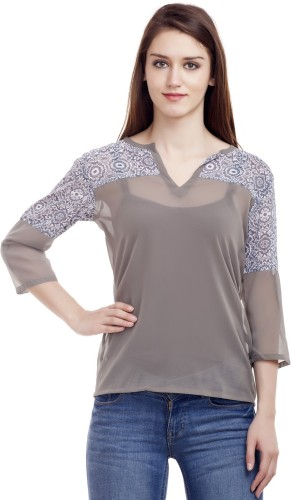 Wish Tree Casual 3/4th Sleeve Printed Women's Grey Top