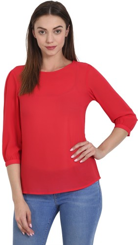 Wish Tree Casual 3/4th Sleeve Solid Women Red Top