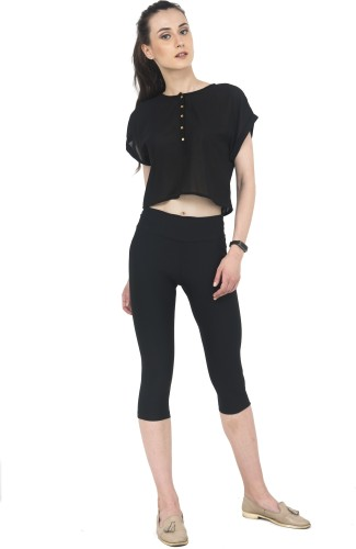 Wish Tree Casual Half Sleeve Solid Women Black Top