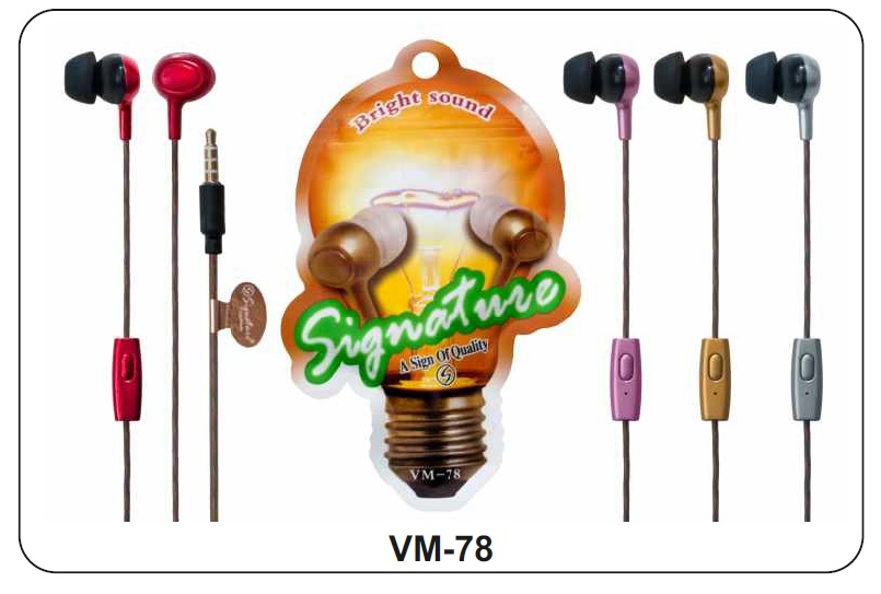 KSJ VM 78 Bright Sound In Ear wired Headphone Headset with Mic