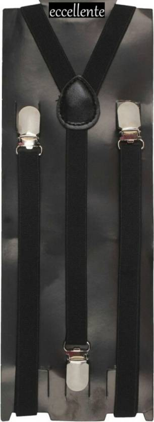 Y  Back Suspenders  BLACK  for Men, Women
