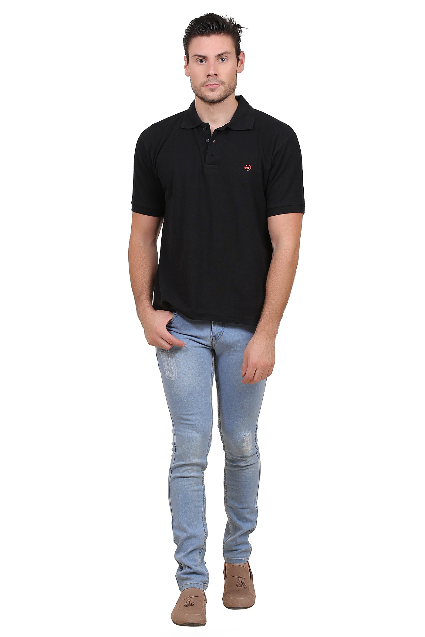 Solid Men Polo Neck Black T Shirt