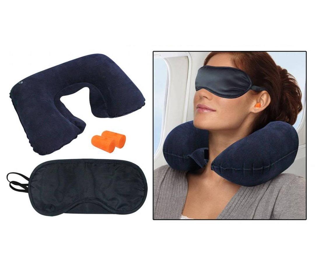 Travel Combo   Inflatable Neck Cushion + Eye Mask + Ear Plugs
