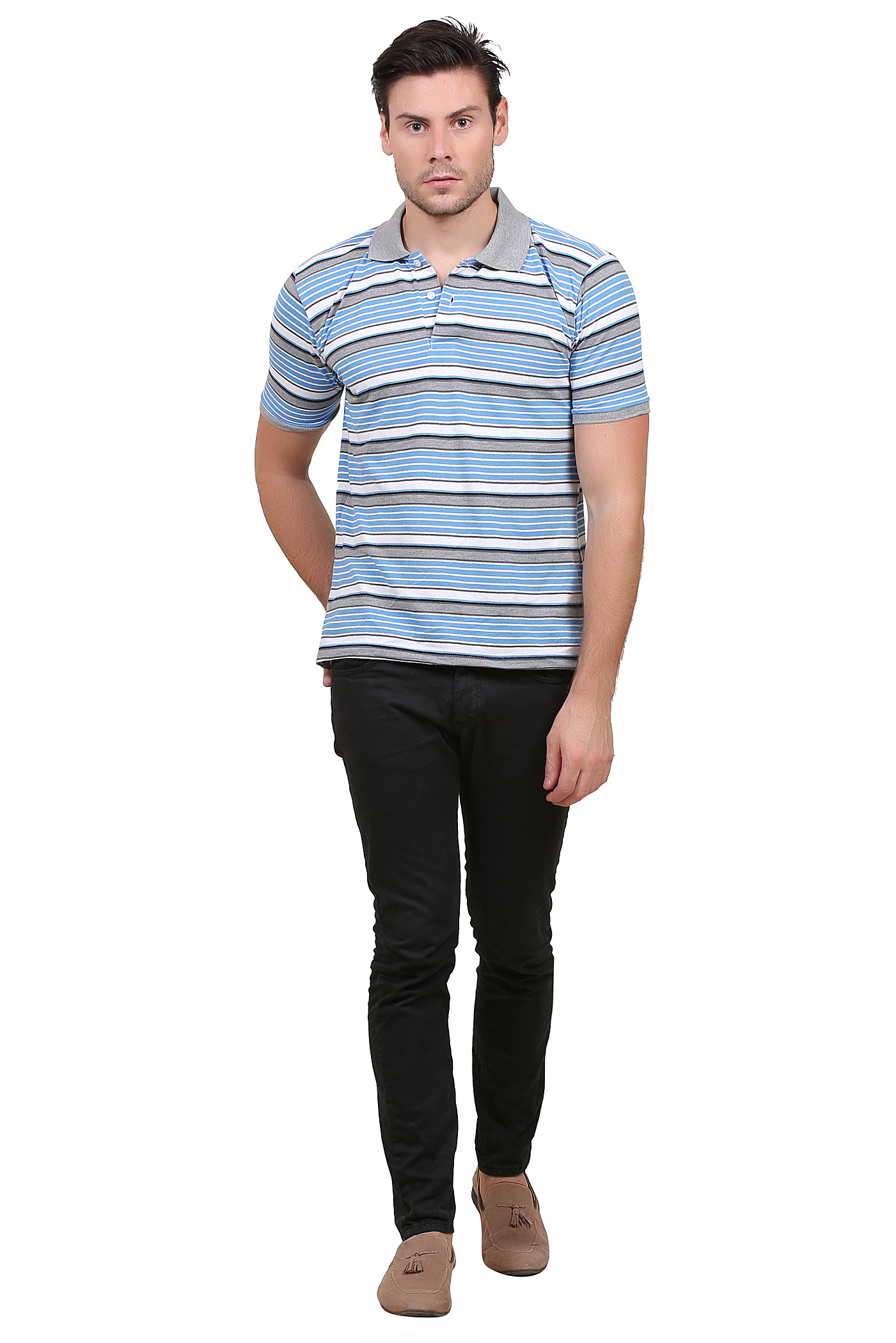 Striped Men Polo Neck Light Blue and Grey T Shirt