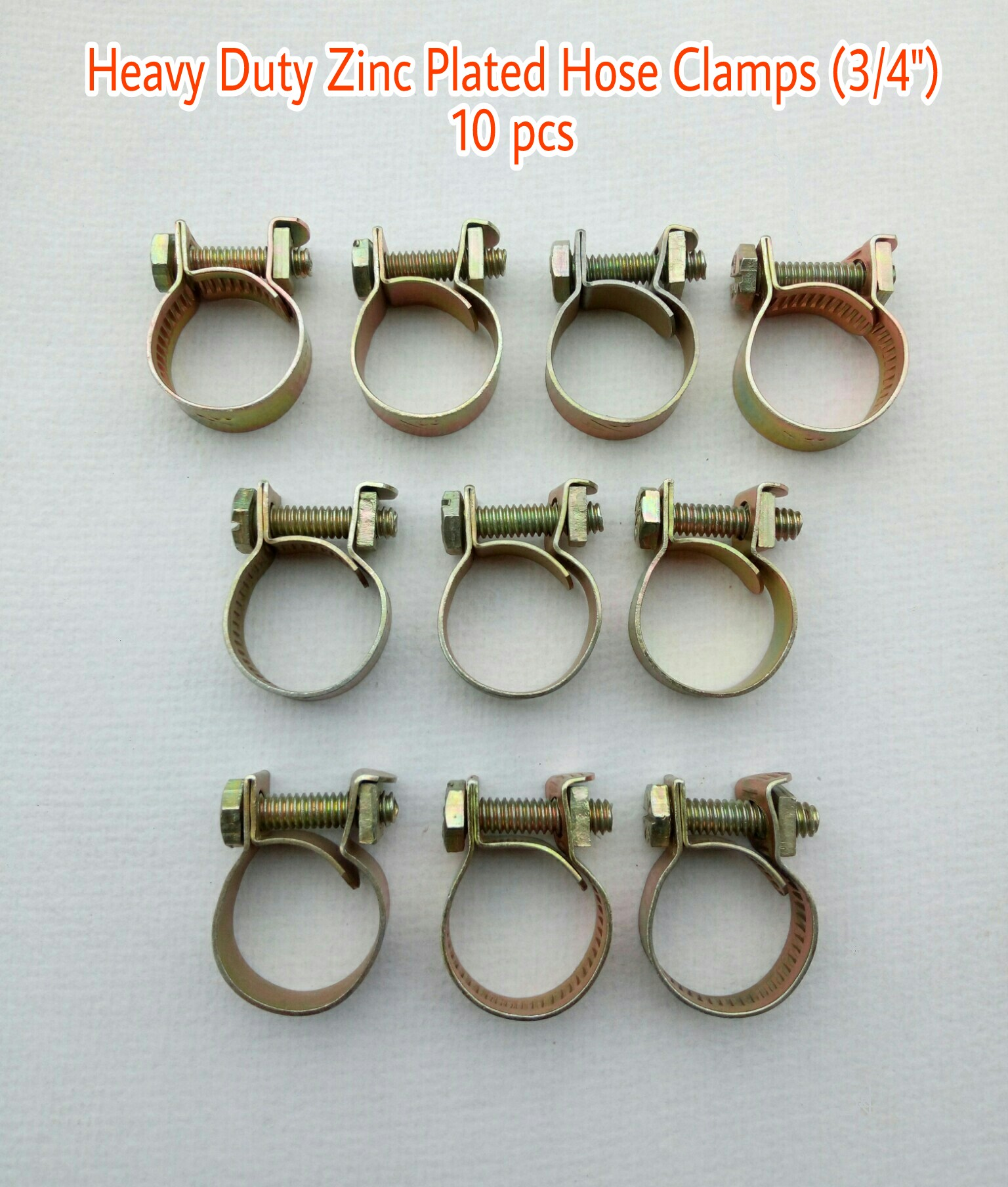 Heavy Duty Hose Pipe Clamps  3/4  / hose pipe Clips / hose pipe Metal Fastener  10 Pcs