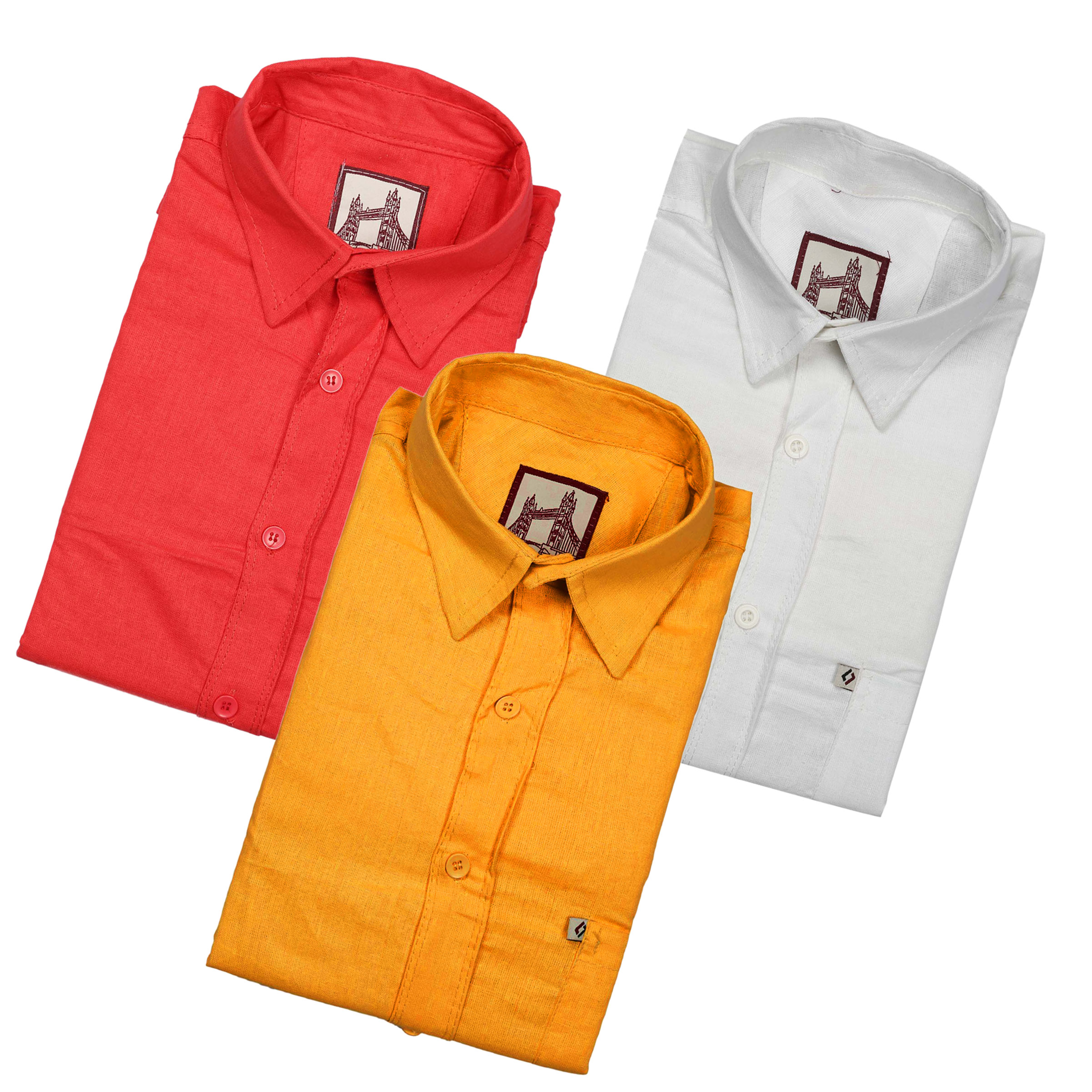 Spain Men Pack of E 3 Solid Regular Fit Casual Shirts