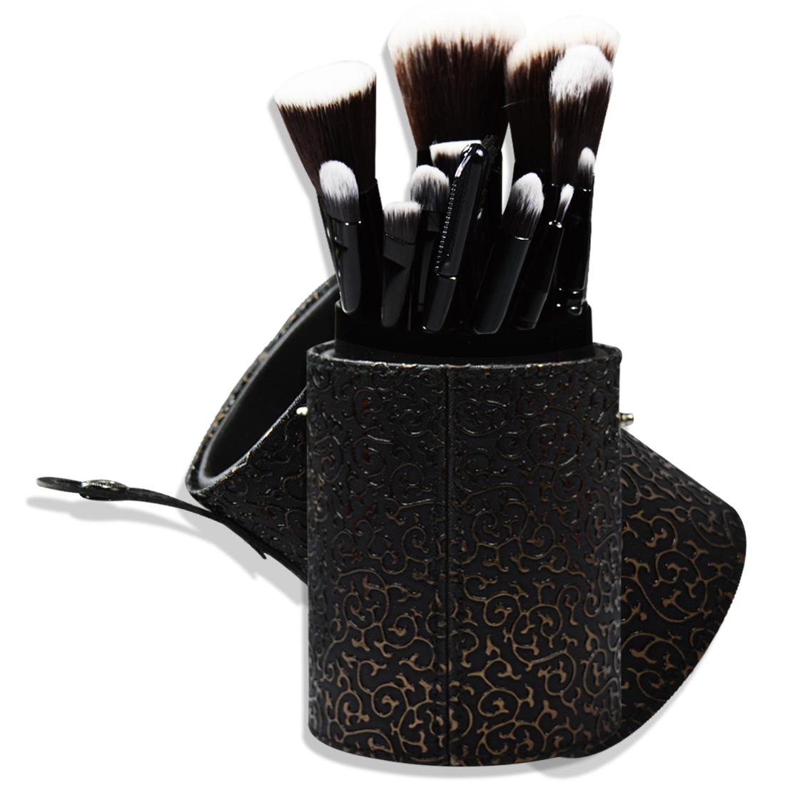 Adbeni Imported 1PC Black Brushes Cylinder Makeup Round Tube Cosmetic Makeup Brushes 12PCs