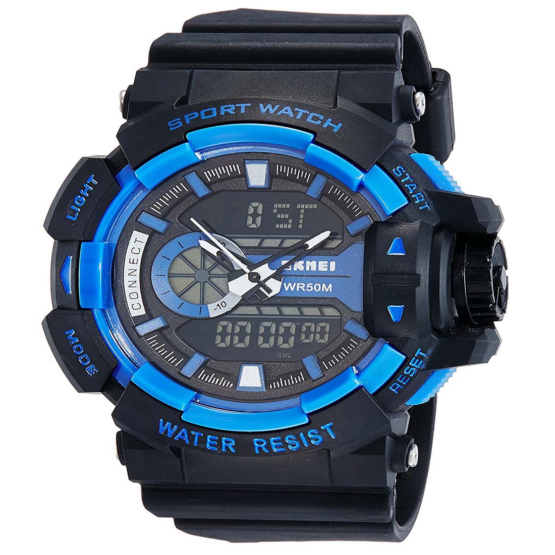 Skmei Black Rubber Analog Digital Sports Watch