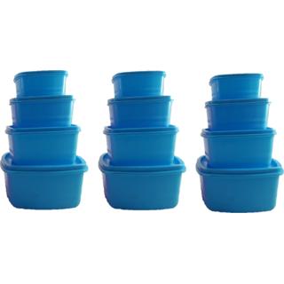 Airtight Plastic Food Storage Containers Set of 12 PCS  1350 ml, 750 ml, 500 ml, 250 ml , Blue