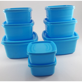 Plastic Food Storage Containers Set of 8 PCS  1350 ml, 750 ml, 500 ml, 250 ml , Blue
