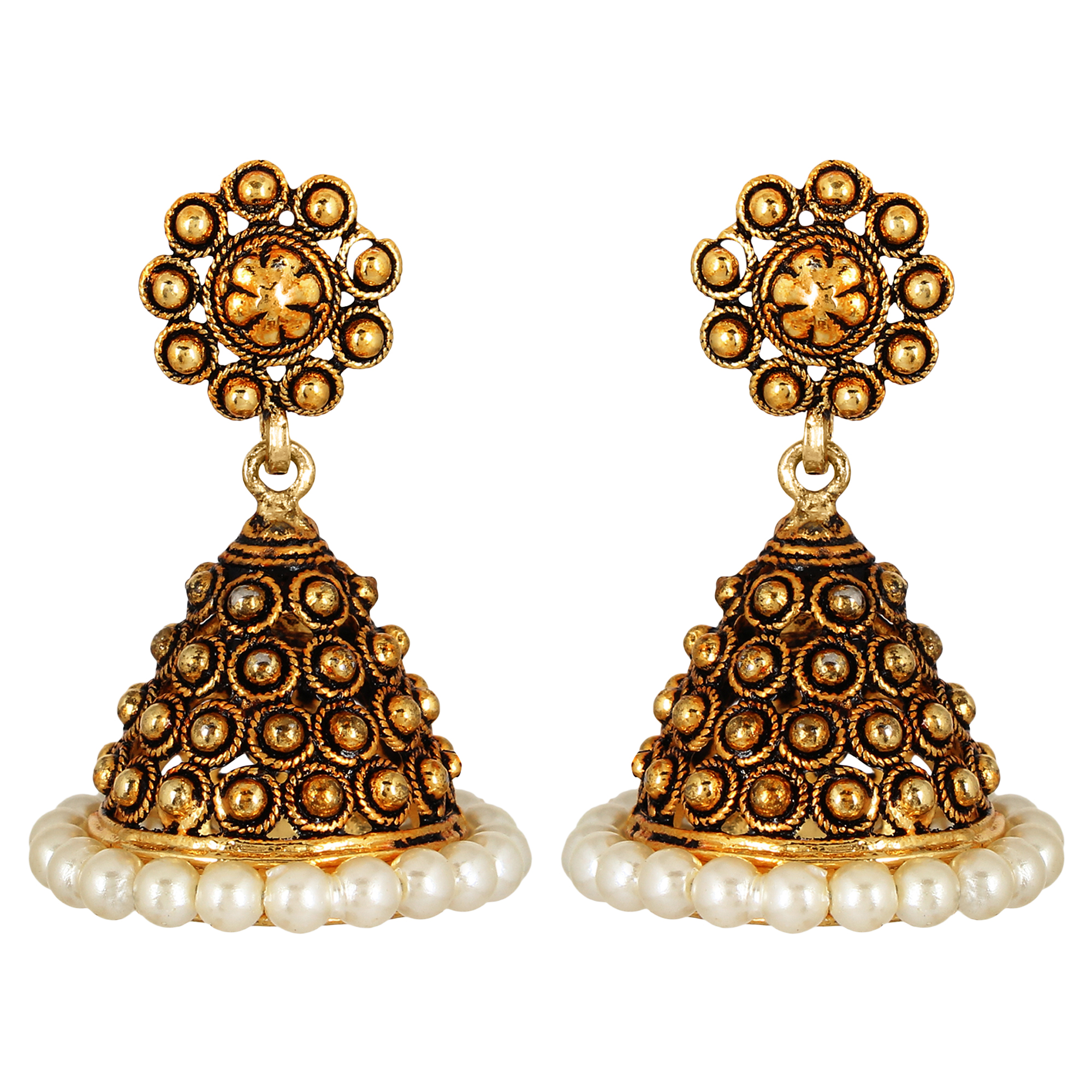 GoldNera Small Dome Alloy Jhumki Earring