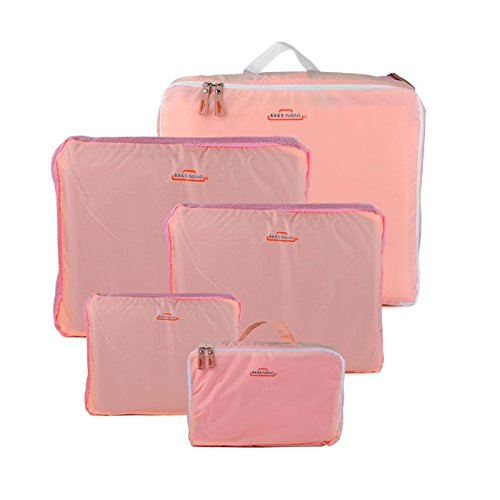 HOMEBASICS 5 in 1 Peach Easy Travel Bag Organizer, Set of 5 Bags Assorted Sizes   Peach Color