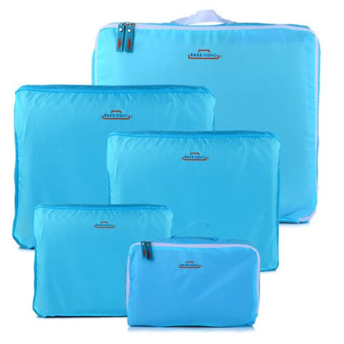 HOMEBASICS 5 in 1 Sky Blue Easy Travel Bag Organizer, Set of 5 Bags Assorted Sizes   Sky Blue Color