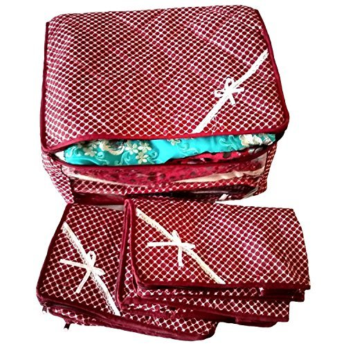Kuber Industries trade; Maroon 3 Layered Quilted Printed Transparent Multi Saree Cover  10 15 Sarees Capacity    Set Of 3