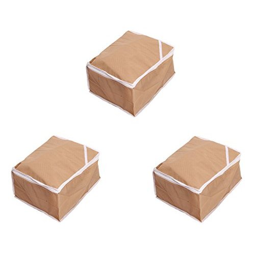 Kuber Industries trade; Saree Cover Set of 3 Pcs in Non Woven Material  Beige