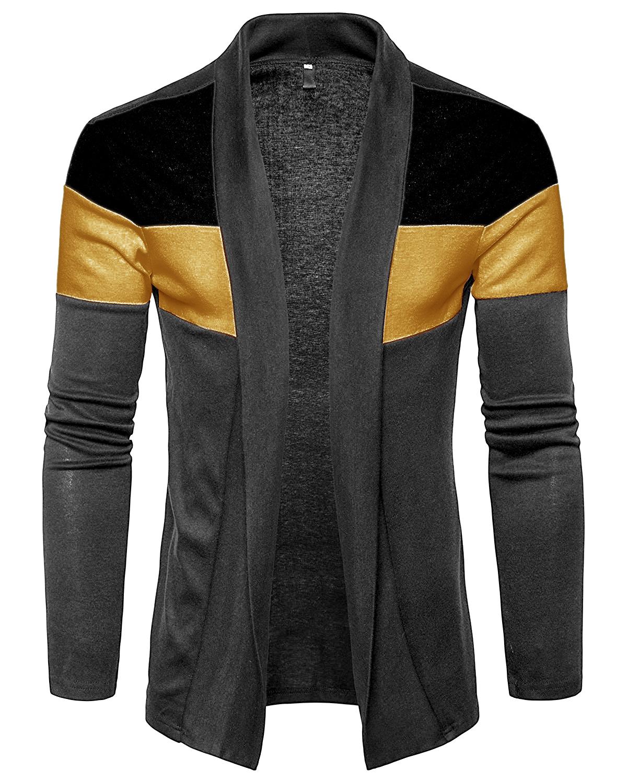 PAUSE Grey Cotton Blend Casual Men's Cardigan T Shirt