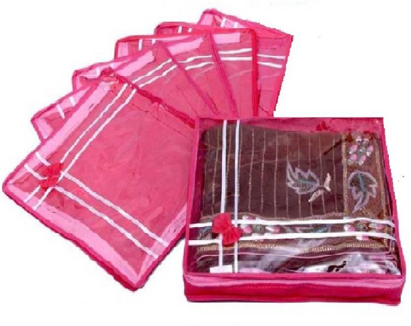 DIMONSIV Plain pack of six saree salwar cloths cover keep 2 saree storage organizers cases  Pink