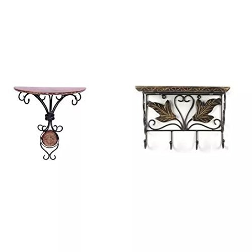 Shilpi Wooden Solid Wooden Wrought Iron Wall Bracket 2 Different Design/Wall Shelf Combo