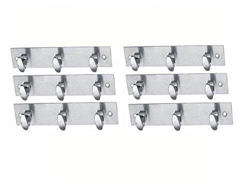 MH StainlessSteel Wall Hook Hook Trums 3 Legs Silver Pack of 6 Pieces