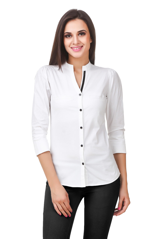 Fairiano Women Solid Formal White Shirt