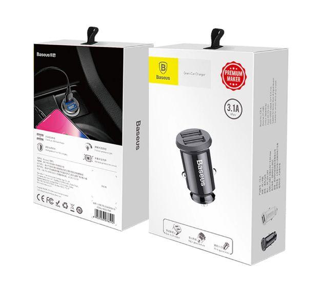 Baseus Mobile Grain USB Car Charger 3.1A Black NEW