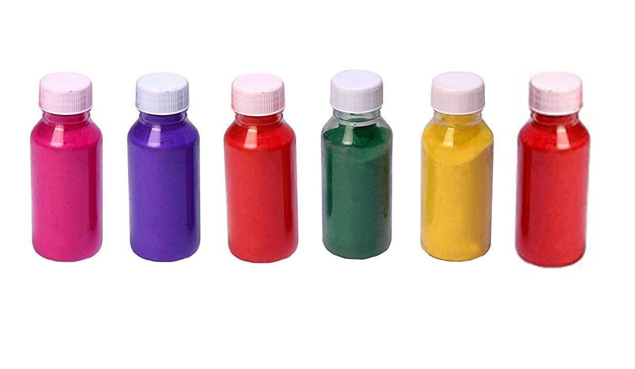 Crazy Sutra Premium Diwali Rangoli Color Powder  Set of 6 Marble Colors Random Colors as per availability  with 1 Gel Diya