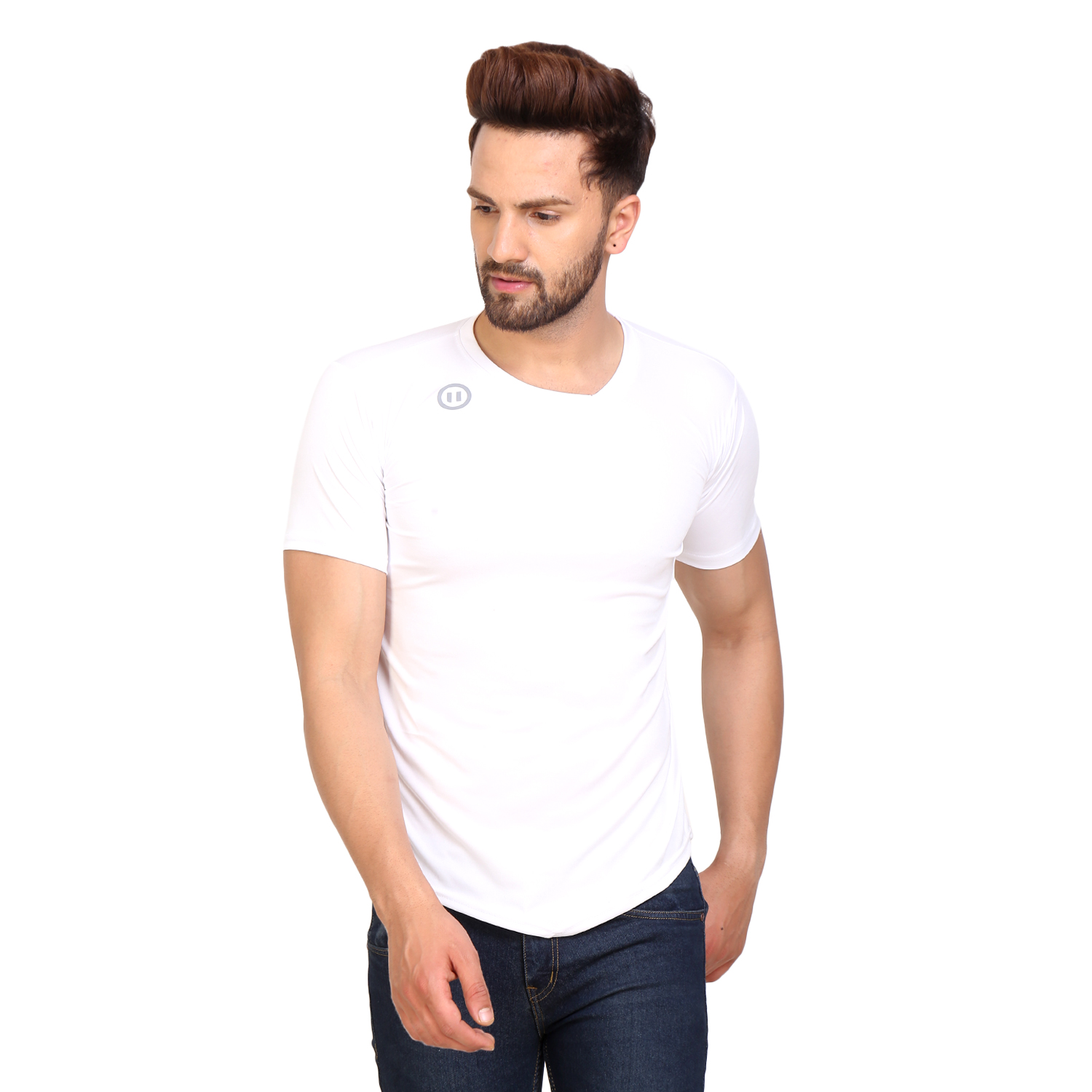 PAUSE Sport White Solid Sports Dry Fit Round Neck Muscle Fit Short Sleeve T Shirt