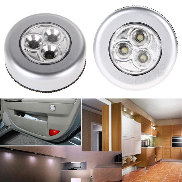 Setof 2 PCS Battery Powered Round White 3 LEDs Stick Tap Touch Lamp Night Light