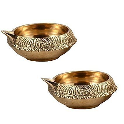 Decorative Brass Kuber Diya   7 cms by 2 cms   Authentic look   SET of 2