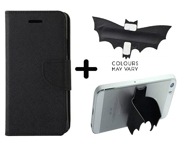Lenovo K5 Note 2016  Cover / Wallet flip for Lenovo K5 Note   BLACK   With Batman Design Mobile Holder   Phone Grip