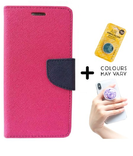 Sony Xperia C3 Cover / Wallet flip for Xperia C3   PINK   With Grip Pop Holder for Smartphones