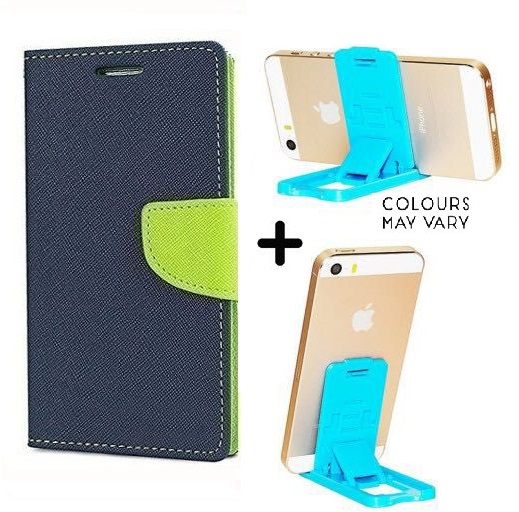 Micromax Canvas Fire A093 Cover / Wallet flip for Micromax A093   BLUE   With Mobile Stand