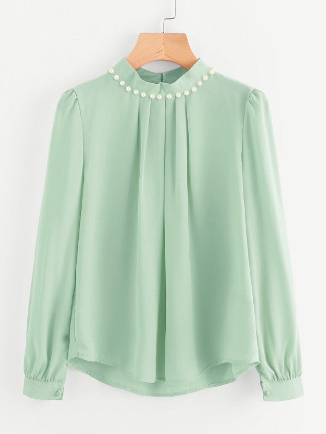 Code Yellow Women's Sea Green Casual Full Sleeves Pearl Top