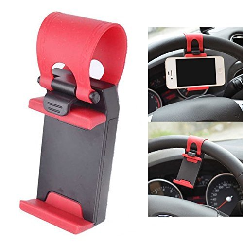 Retractable Silicon Car Steering Wheel Universal Mobile Phone Socket Stand Holder Clip