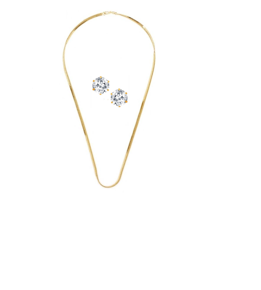 GoldNera GoldPlated Chain With Solitaire stud Earring
